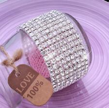 Ladies 9x Row Sparkly Crystal Rhinestone Bracelet Bangle For Women Bride Wedding