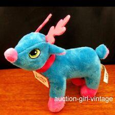 Plush Stuffed Reindeer Toy Stocking Stuffer Blue-B Xmas Gift Fast Free Ship NEW