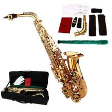 Brass Gold Alto Eb Saxophone Kit w/ Accessory, Case + Mouthpiece Gloves +Brush