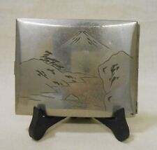 Japanese Antique Cigarette Case Stainless Steel / Mt. FUJI 富士山