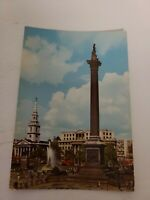 Unposted Postcard Trafalgar Square Nelson's Column London England Vintage Color