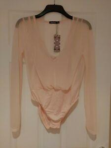 Ladies Boohoo Bodysuit Size 14 Sheer 2 in 1 Strappy Pink BNWT