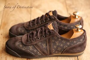Louis Vuitton Brown Suede Leather Monogram Shoes Trainers Sneakers UK 7.5 US 8.5