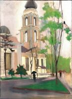 """Russischer Realist Expressionist Öl Leinwand """"Regen"""" 91x67 cm"""