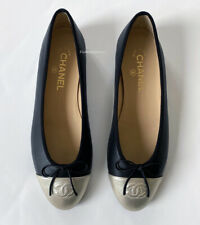 NIB CHANEL CLASSIC BLACK SILVER LEATHER CC CAP TOE SHOES BALLET FLATS 40 9