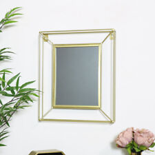 Small rectangle metal gold 3d wire framed wall mirror vintage retro chic vanity