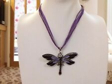 Brand new purple enamel dragonfly Necklace with a choice of chain and gift box