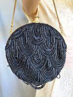 Vintage Beaded Purse - Walborg Black/Gold Sparkle Beads Loop Fringe - Needs TLC
