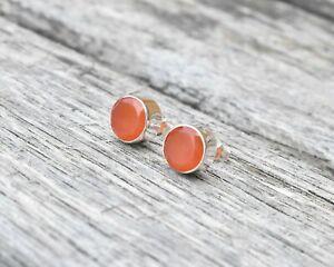 Handmade 925 Sterling Silver Carnelian Gemstone Circle Stud Earrings