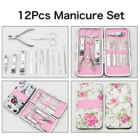 12PCS Pedicure Manicure Set Nail Care Clippers Cleaner Cuticle Grooming Kit Case
