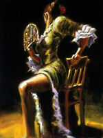 Flamenco dancer oil painting HD Giclee Art Printed on canvas L2223