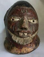 Large Antique African Carved Wood Helmet Mask Congo Estate