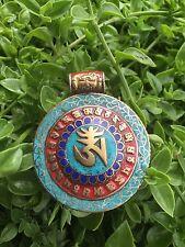 Tibetan Om Pendant Turquoise Corals Brass Handmade Om Mani Padme Hum Unique