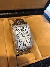 Franck Muller White Gold Long Island w factory Diamond Bezel Watch, box & papers