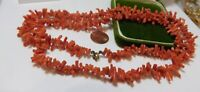 Vintage Victorian  Long Natural Salmon Coral Branches Beaded Necklace 5b 37