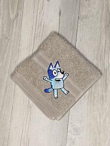 Kids Face Washer Bluey Dog Birthday Gift Childrens Bathroom Embroidered
