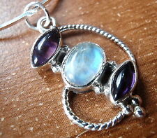 Blue Moonstone Purple Amethyst 925 Sterling Silver Pendant Rope Style Accents