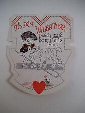 Vintage Valentine Card Wish You'd Be My Little Lamb Shepherd Boy Valentine's Day