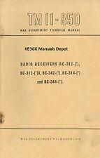 TM 11-850 BC-312 BC-314 BC-342 BC-344 Radio Receivers Manuals * CDROM * PDF