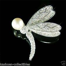 w Swarovski Crystal DRAGONFLY White Pearl Bridal Wedding Jewelry Pin Brooch Xmas