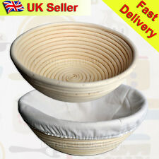 "UK 2x 22cm/9"" Round Banneton Brotform Dough Bread Proofing Proving Rattan Basket"