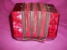 RED CONCERTINA HEXAGON ACCORDION MADE IN ITALY