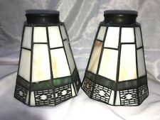Pair Stained Slag Glass Lamp Shade Globe Mission Style Green Caramel