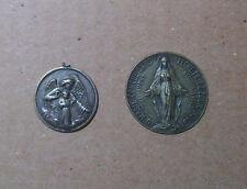 Dos antiguas medallas religiosas, arcamgel y niño/ Virgen de francia, Plata