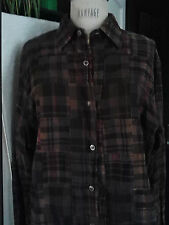 NEW Tailor Vintage Brown Patchwork Plaid Men's M  Cotton Shirt A brand-new