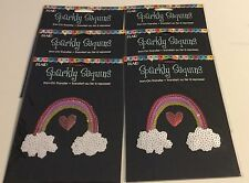 (12) PLAID Sparkly Sequins RAINBOW Heart and Clouds Iron-On Transfer