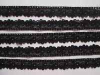 5 Meter Schwarz  SPITZE  elastisch Borte Lace 2cm breit 614