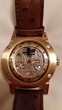32 Degrees watch w/ skeleton front and back dials and genuine camel skin strap