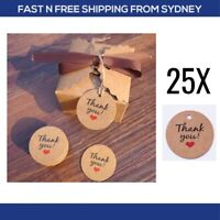 25 Handmade Thank You Love Heart Kraft Gift Tags Wedding Baptism Party Favours