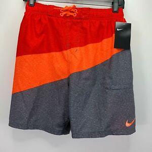 "Nike Mens Breaker Colorblocked 5.5"" Swim Trunks Red Orange XL"