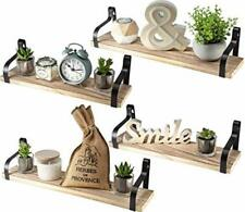Floating Rustic Shelves Wall Mounted Set of 4 - Natural Wood Color-SHIPS FAST!