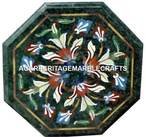 Marble Octagon Coffee Table Top Semi Precious Inlay Marquetry Home Decor H2001