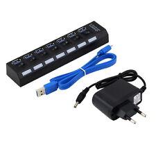 Hub 7 puertos USB 3.0 con interruptor de encendido/apagado + EU/US AC Power Adaptador Para PC Laptop Ya