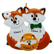 NAME PERSONALIZED Red Fox Family of 3 Christmas Ornament Tree 2019 Holiday Gift