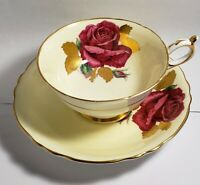 Paragon China Yellow Cup & Saucer Red Cabbage Rose Signed R Johnson