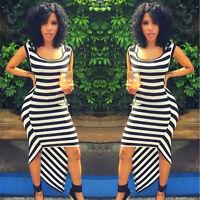 Women sexy sleeveless black white striped Asymmetrical Hem clubwear party dress