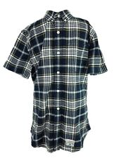 Super Dry Check Navy Blue Shirt Size Large Short Sleeve Button Down
