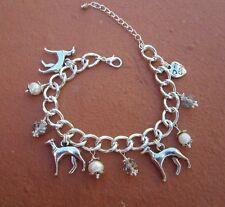 Greyhound Dog Charm Bracelet with F. Pearls & Swarvoski Crystals