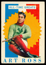1960 61 TOPPS HOCKEY #27 ART ROSS ALL TIME GREATS EX Cond BOSTON BRUINS HOF Card