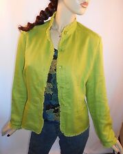 Coldwater Creek Size PL 100% Linen Green  Button Front Blazer W/Frayed Hemline