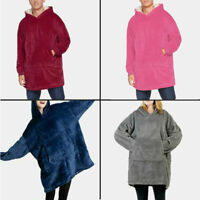 Oversized Hoodie Sweatshirt Wearable Blanket Hood Sleeves Large Pocket Best Gift