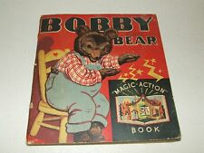 Vintage 1935 BOBBY BEAR Magic Action Children's Illustrated Pop-Up Book, Whitman