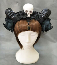 Halloween Stereo Devil Horns Skull Headband Gothic Sheep Horn Cosplay Headdress