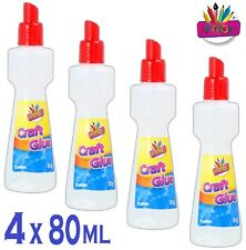 4 x Kids Craft Glue SQUEEZE BOTTLE NO MESS APPLICATOR Non Toxic Stationery 80ml