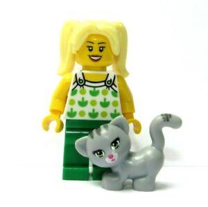 LEGO Female Girl Minifigure Figure Blonde Twin Ponytail & Grey Cat Kitten Pet