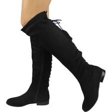 Womens Ladies Over The Knee High BOOTS Lace Tie up Low Heel Flat Shoes Size Black UK 3 / EU 36 / US 5